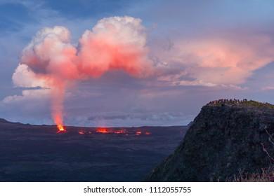 The Piton de la Fournaise volcano in Reunion Island