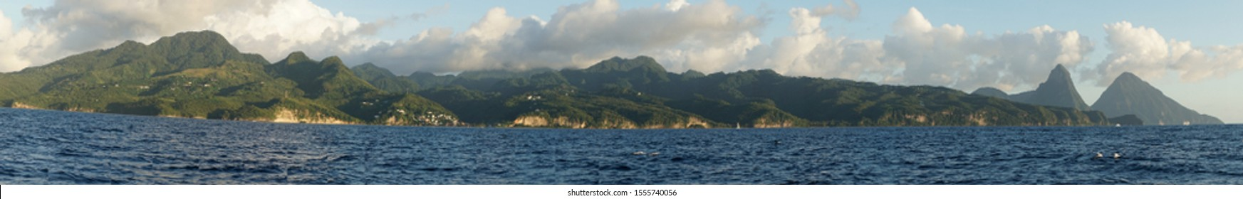 Piton Mountain Peaks rising out of the ocean on the Caribbean Island of Saint Lucia.