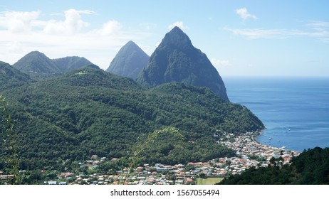Piton Mountains in lush green jungle forest landscape on Saint Lucia Island in the Caribbean .