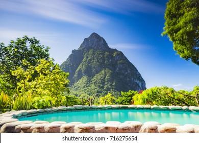 Piton and Pool, Stonefield Estate Resort, Saint Lucia