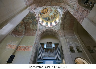 Pitsunda, Abkhazia, May 9, 2017. Patriarchal Cathedral in Pitsunda in honor of the Apostle Andrew, organ inside, walls and ancient murals