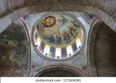 Pitsunda, Abkhazia, May 9, 2017. Pitsunda temple, Patriarchal Cathedral in Pitsunda in honor of the Apostle Andrew, the walls and ancient frescoes inside