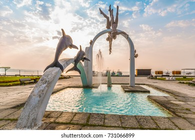 """PITSUNDA, ABKHAZIA, SEPTEMBER 23, 2017: Famous sculptural composition """"The Sea"""", which depicts pearl divers, in the central part of Pitsunda"""