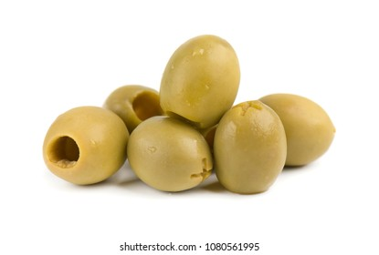 Pitted and marinated green olives, isolated on white background.