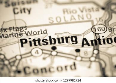 Pittsburg. California. USA on a map