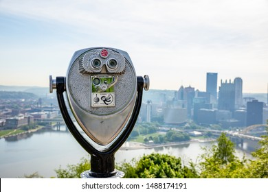 Pittsburgh city downtown aerial view from Point of view park binocular, sunny spring day. Pennsylvania, USA