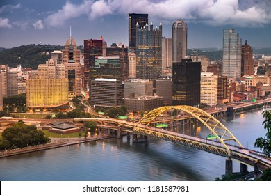 Pittsburgh city landscape view over the Monongahela and Allegheny River