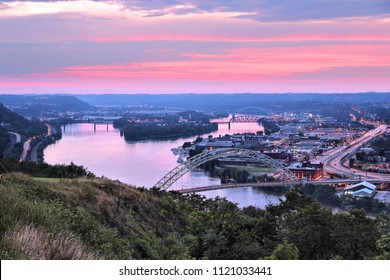 Pittsburgh city, Pennsylvania. Sunset view with Ohio River, Chateau district and Brunot Island.