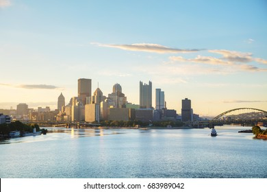 Pittsburgh cityscape with the Ohio river in the morning