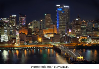 Pittsburgh downtown at night overlook across Monongahela river