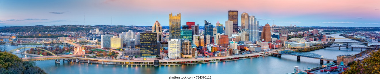 Pittsburgh downtown panorama at dusk viewed from Grandview Overlook across Monongahela River