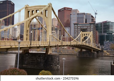 PITTSBURGH - NOVEMBER 8, 2014: The Roberto Clemente Bridge, also known as the Sixth Street Bridge, spans the Allegheny River in downtown Pittsburgh, Pennsylvania, United States.