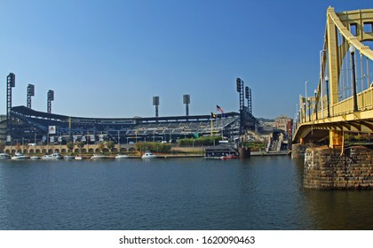 PITTSBURGH - OCT 14: PNC Park located in Pittsburgh home to the MLB franchise Pittsburgh Pirates on  the Allegheny River and by the Roberto Clemente bridge.Taken Oct 1, 2014 Pittsburgh, PA