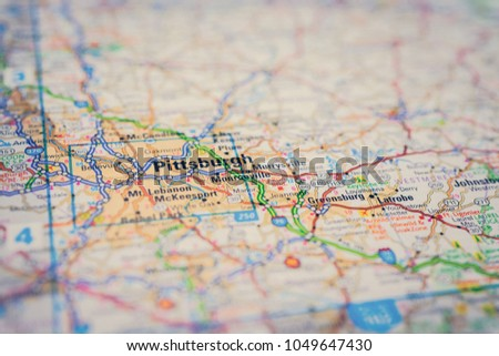 Pittsburgh On Usa Map Stock Photo Edit Now 1049647430 Shutterstock