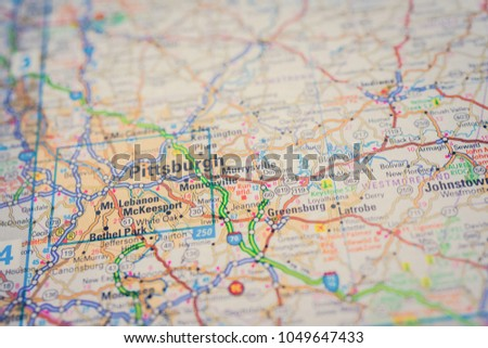 Pittsburgh On Usa Map Stock Photo Edit Now 1049647433 Shutterstock