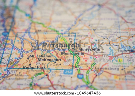 Pittsburgh On Usa Map Stock Photo Edit Now 1049647436 Shutterstock