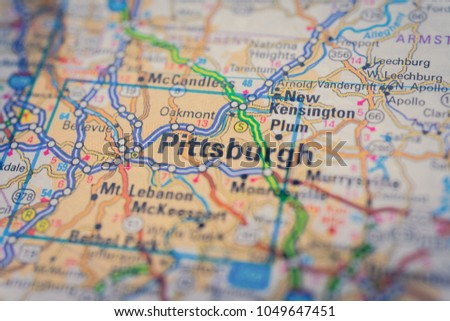 Pittsburgh On Usa Map Stock Photo Edit Now 1049647451 Shutterstock