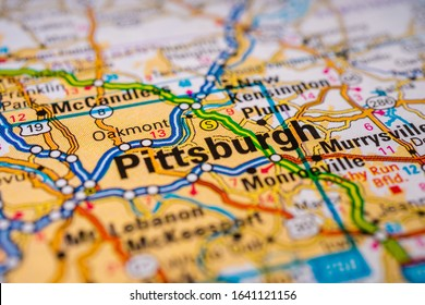 Pittsburgh on USA map travel background