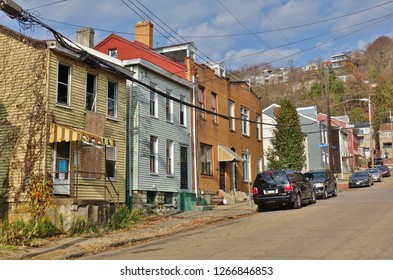 PITTSBURGH, PA -17 NOV 2018- View of the historic Old Allegheny Mexican War Streets neighborhood in Pittsburgh, Pennsylvania.