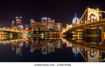 PITTSBURGH, PA - 3 jULY 2018: Downtown Pittsburgh from river trail on North Side at night