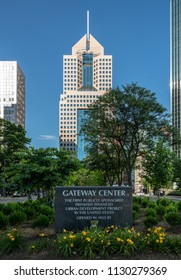 PITTSBURGH, PA - 3 jULY 2018: Skyline of Pittsburgh with Gateway Center sign and Highmark building