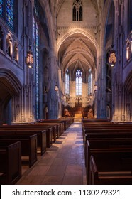 PITTSBURGH, PA - 5 JULY 2018: Aisle and altar inside Heinz Chapel at the University of Pittsburgh PA