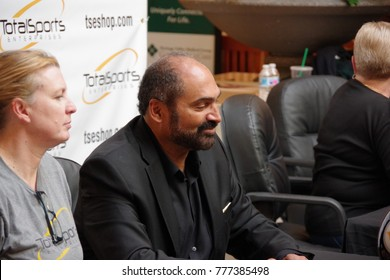 PITTSBURGH ,PA -DECEMBER 9, 2017: Mr. Franco Harris Pittsburgh Steelers legendary player signing autographs ant taking photos with fans. Venue made by tseshop.com at Pittsburgh ,PA on December 9, 2017