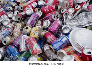 PITTSBURGH, PA -JULY 10, 2017: Closeup of collected aluminum cans .Local community awareness of pollution problem at Pittsburgh, PA on July 10, 2017