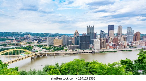 PITTSBURGH, PA - JUNE 16, 2018: Pittsburgh, Pennsylvania skyline  overlooking the Allegheny Monongahela rivers from the Grandview Overlook on the South Shore.