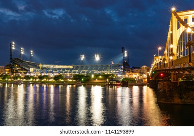 PITTSBURGH, PA - JUNE 16, 2018: PNC Park, home of the Pittsburgh Pirates Major League baseball team, along the Allegheny River in Pittsburgh, Pennsylvania at Night
