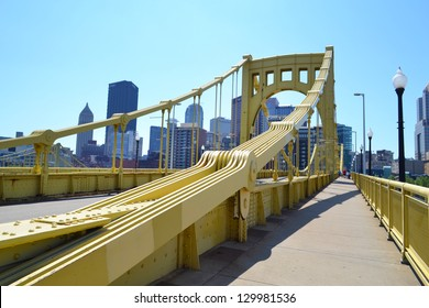 PITTSBURGH, PA - MAY 11: One of the Three Sisters bridges on May 11, 2012 in Pittsburgh, Pennsylvania. Pittsburgh has more than 446 bridges in its city limits.