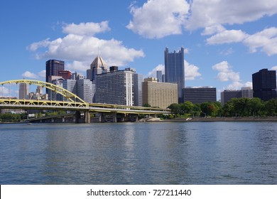 PITTSBURGH, PA -SEPTEMBER 9, 2017: View of downtown from North Side on beautiful sunny day.Blue sky with white clouds over city at Pittsburgh, PA on September 9, 2017