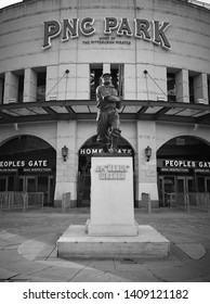Pittsburgh, PA./ USA - 05/19/2019: Outside PNC Park Statue of baseball hall of fame baseball player Honus Wagner who played for the Pittsburgh Pirates