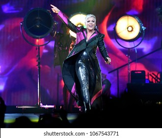 PITTSBURGH, PA / USA - April 7, 2018: Pink performs during the Beautiful Trauma Tour in Pittsburgh, Saturday, April 7, 2018 at PPG Paints Arena