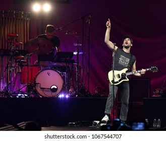 PITTSBURGH, PA / USA - April 7, 2018: Jack Antonoff of Bleachers performs as the opening act during the Pink Beautiful Trauma Tour in Pittsburgh, Saturday, April 7, 2018 at PPG Paints Arena