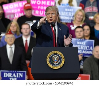 PITTSBURGH, PA / USA - March 10, 2018: President Donald Trump speaks to the crowd gathered for a rally endorsing Republican candidate Rick Saccone for Pennsylvania's 18th Congressional District