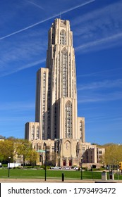 Pittsburgh, PA, USA May 6, 2014 The Cathedral of Learning towers over the campus of the University of Pittsburgh