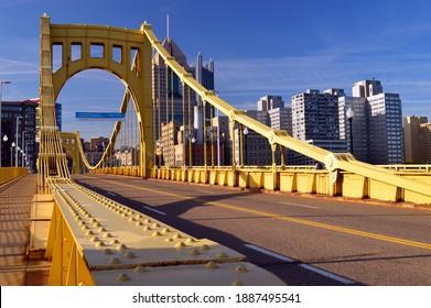 Pittsburgh, PA, USA May 6 The yellow Sixth Street Bridge leads travelers into downtown Pittsburgh, Pennsylvania