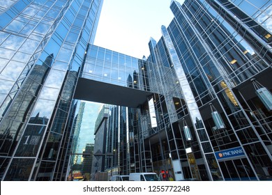 PITTSBURGH, PA / USA - NOVEMBER 7, 2018: Two buildings at PPG Place in downtown are connected by a glass flyover walkway.