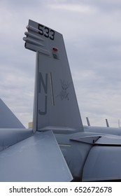 PITTSBURGH, PA-MAY 14, 2017: US NAVY Boeing F-18 Growler at the Pittsburgh International Airport during the Wings Over Pittsburgh Airshow.Tail emblem closeup at Pittsburgh, PA on May 14, 2017