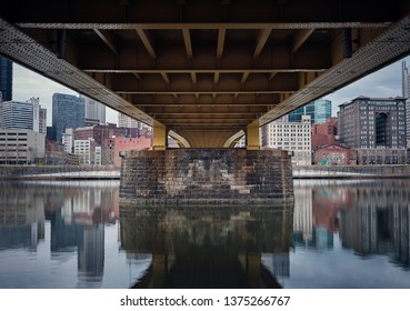 Pittsburgh, Pennsylvaian / United States of America - April, 14, 2019: Underneath Andy Warhol Bridge 7th Street North Shore Pittsburgh, PA.