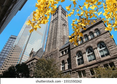 Pittsburgh, Pennsylvania - city in the United States. Allegheny county courthouse. Autumn leaves.