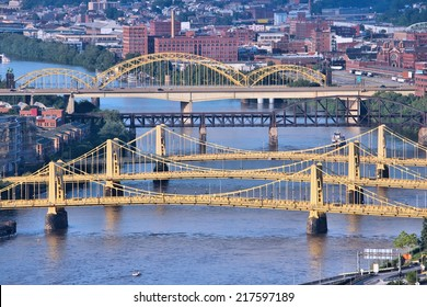 Pittsburgh, Pennsylvania - city in the United States. City view with bridges Monongahela River.