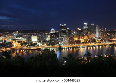 Pittsburgh, Pennsylvania - city in the United States. Night skyline.