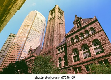 Pittsburgh, Pennsylvania - city in the United States. Allegheny county courthouse. Filtered colors - instant photo style.