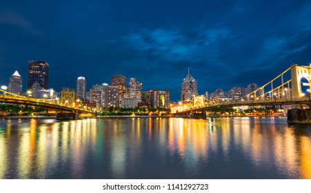 Pittsburgh, Pennsylvania night skyline  along the Allegheny river from North Shore Riverfront Park