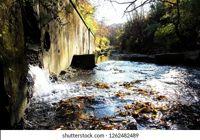 Pittsburgh, Pennsylvania- November 11, 2018: Any amount of rainfall can cause sewage and storm-water overflow in the streams and rivers in the city due the use of a combined sewer system.