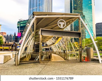 PITTSBURGH, PENNSYLVANIA - OCTOBER 19, 2019: Gateway station in downtown Pittsburgh. Pittsburgh light rail transit, mass transportation system of port authority of Allegheny County. Subway in Downtown