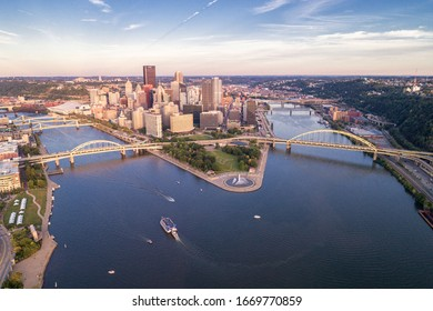 PITTSBURGH, PENNSYLVANIA - SEPTEMBER 25, 2019: Aerial view of Pittsburgh, Pennsylvania. Business district Point State Park Allegheny  Monongahela Ohio rivers in background. Cityscape.