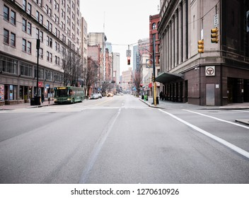 Pittsburgh, Pennsylvania / United States of America - December 30, 2018: City streets in Pittsburgh PA.